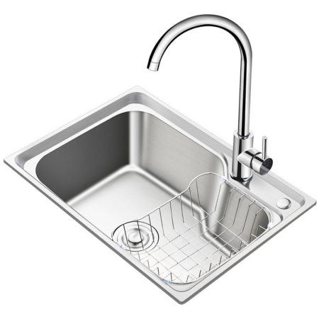 Modern Single-Handle Stainless Steel Kitchen Sink Faucet