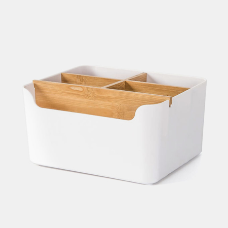 Modern Bamboo Desk Organizer Multifunction Office Supplies Storage Box