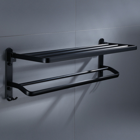 Wall-Mounted Shelf Rack with Double-Towel Bars and Foldable Construction