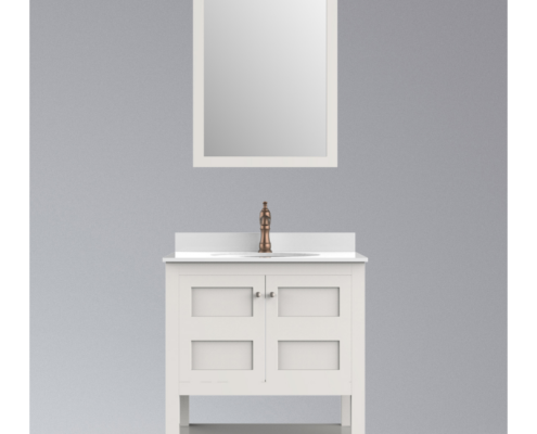 "37"" Inch Single Sink Bathroom Vanity Set with Carrara White Marble Countertop & Mirror"
